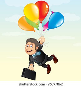 Businessman Flying Away with Colorful Balloons, vector cartoon illustration
