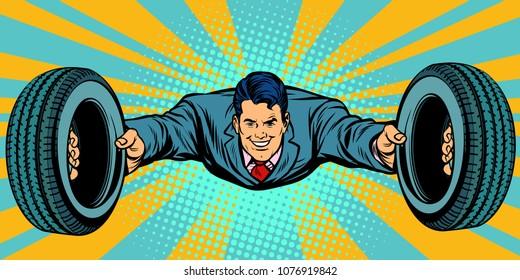 businessman flying car tires service. Pop art retro vector illustration comic cartoon kitsch drawing