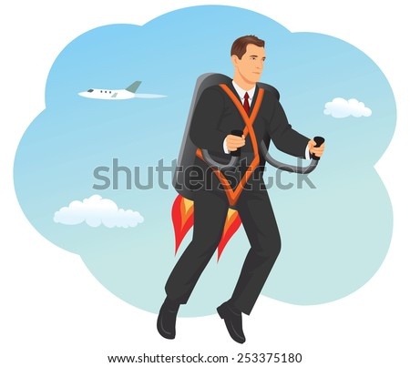 9cec0deff23 Businessman Flying Fast Jet Backpack On Stock Vector (Royalty Free ...