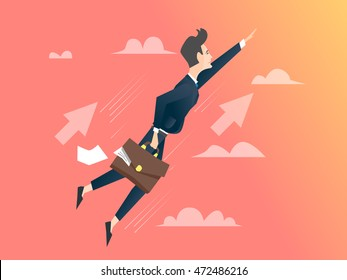 businessman flying flat vector cartoon illustration