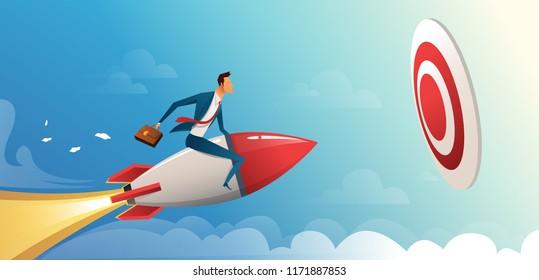Businessman flying forward with a rocket engine to big target. Business vector concept illustration