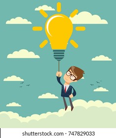 Businessman flying holding idea bulbs in sky. Office worker character in suit. Stock flat vector illustration.