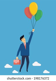 Businessman flying into sky with colorful balloon, business concept in freedom and opportunity.