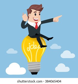 Businessman are flying with lightbulb idea