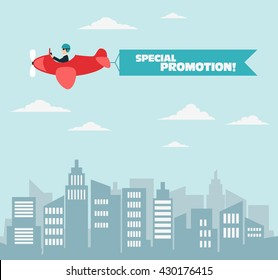 Businessman flying on airplane with banner over the city