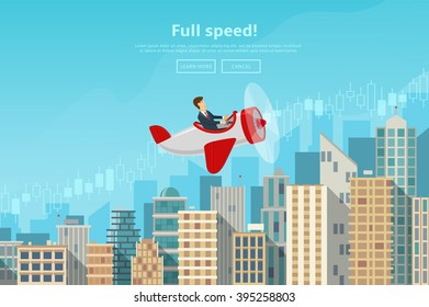 Businessman flying on the airplane on career stairs. Concept of web banner with person flying on plane to the success. Modern flat design of urban landscape with city buildings, vector illustration.