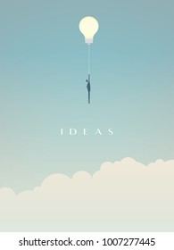 Businessman flying on a lightbulb ballon vector. Symbol of creativity, innovation, creative ideas and solutions. Eps10 vector illustration.