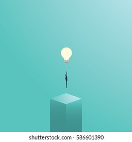 Businessman flying on a lightbulb as a symbol of business creativity. Creative solutions vector concept. Eps10 vector illustration.