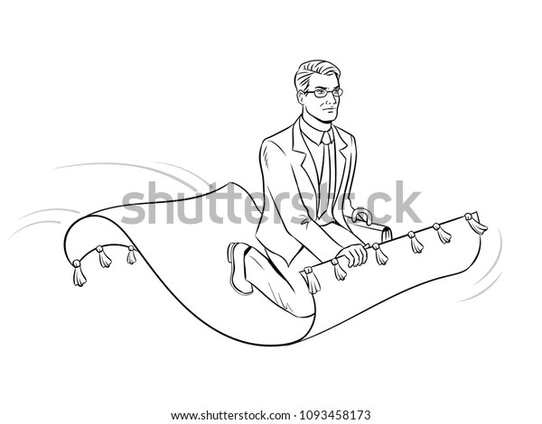 Businessman Flying On Magic Carpet Coloring Stock Vector (Royalty ...
