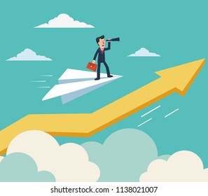 Businessman flying on paper plane over  growing graph arrow and looking in spyglass. Young man searching for new opportunity