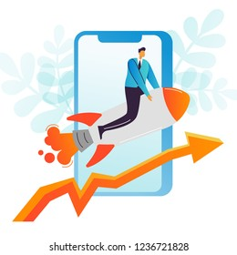 Businessman Flying on a Rocket. Business Mobile Startup, Career Boost, Web Technology Concept. Office Worker Character with Smartphone. Vector illustration