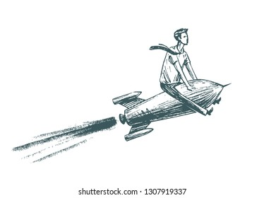 Businessman is flying on a rocket. Business, success, growth, career concept. Sketch vector illustration