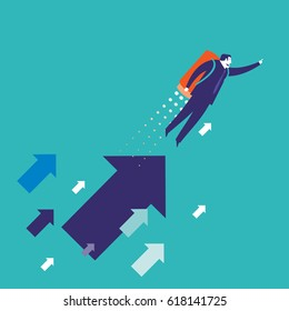 Businessman flying with a rocket over arrows