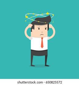 Businessman with flying stars around his head. Flat cartoon style. Vector illustration.
