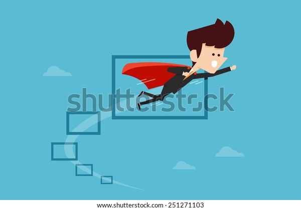 Businessman flying through Obstacles , flat design