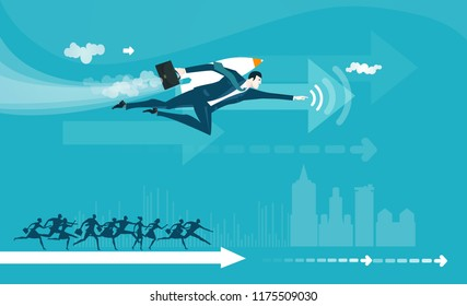 Businessman flying towards success, helping, generating power and right solution. Consultancy. Concept illustration