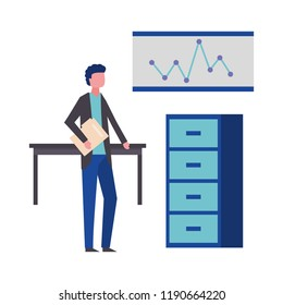 businessman with folder desk cabinet and board