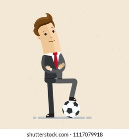 Businessman with football. Concept business illustration.