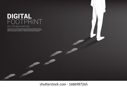 Businessman with Footprint from Footprint from digital dot pixel. business concept of digital transformation and digital footprint.