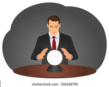 Businessman is foretelling future with crystal ball. Fortune teller. Forecasting financial markets.