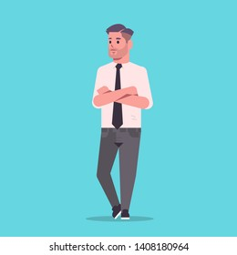 businessman in formal wear folded hands standing pose smiling male cartoon character business man office worker posing flat full length