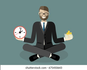 Businessman found his balance with time and money. Business man sitting and mindful meditating in lotus asana in zen peace and mental calmness. Flat style vector illustration