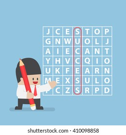 Businessman found success in word search puzzle, VECTOR, EPS10