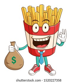 Businessman of french fries cartoon character holding bag full of money with ok hand sign and funny smile face