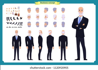 Businessman. Front, side, back view animated character. Elderly Manager man character constructor with various views, hairstyles, face emotions. Cartoon style, flat vector isolated.grandfather