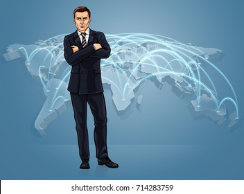 Businessman in front of a world map with flight paths or communication links globalisation concept