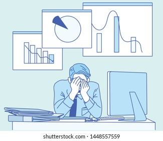 Businessman frustrated with a graph to be paradise. hand drawn style vector design illustrations.