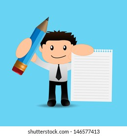 Businessman funny cartoon with pencil and paper