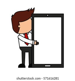 businessman funny with smartphone character icon vector illustration design