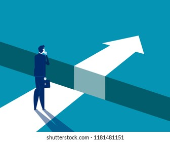 Businessman and gap on way to success, Concept business solving problem vector illustration, Flat business character, Cartoon style design.