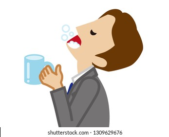 Businessman gargling with water for prevent cold
