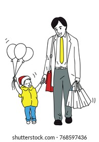Businessman get back from work and going shopping, enjoy walking home with his son in happy and smiling expression in period of happy new year eve, Christmas season. Outline, linear, cartoon style.