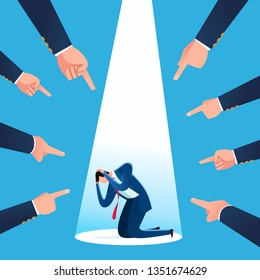 Businessman get blamed for business loss and failure. Business concept vector illustration.