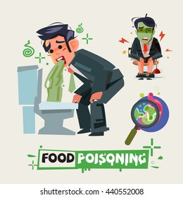 businessman get diarrhea in toilet. man in pain vomiting. food poisioning concept. Man having a stomachache. food poisoning. stomach problems - vector illustration