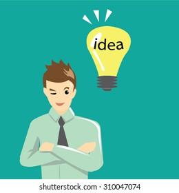 Businessman get idea concept-vector