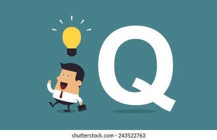 """Businessman get the idea with the word """"Q"""", Business concept"""