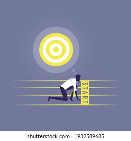 Businessman get ready on starting line, Starting career concept, Businessman in starting position ready to sprint run