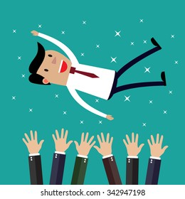 Businessman get thrown into the air by coworkers during celebration. Vector illustration in flat design on green backgound. Financials, work motivation
