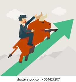 Businessman getting on a large bull market running up