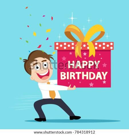 Businessman Gift Box Birthday Illustration Vector Stock Vector