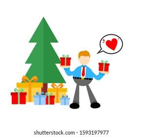 businessman and gift box flat design illustration