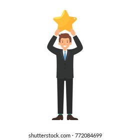 Businessman give a big star to rating concepts vector illustration
