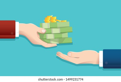 Businessman give money , salary concept vector illustration EPS10