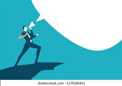 Businessman given a speech. Speech bubble for your text