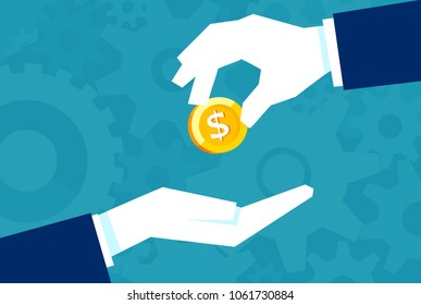 Businessman gives man a gold coin. Transfer of cash from hand to hand. Financial concept of borrowing money