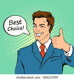 Businessman gives thumb up in  retro comics style.  Successful man, Smile, finger agreement, best choice, vintage pop art  vector illustration